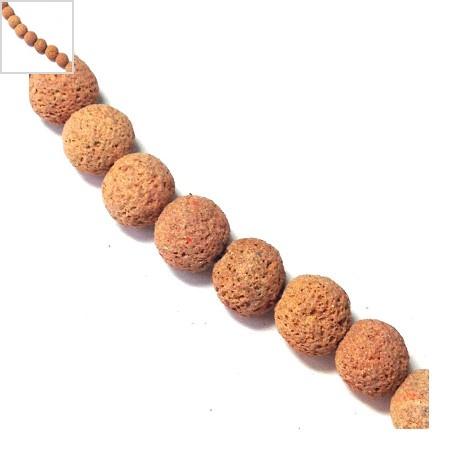 Ημιπολύτιμη Πέτρα Λάβα Χάντρα Μπίλια Χρωματιστή 12mm (~40cm/κορδόνι) - Πορτοκαλί ΚΩΔ:72212034.004-NG