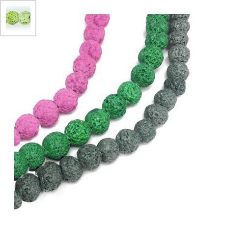 Ημιπολύτιμη Πέτρα Λάβα Χάντρα Μπίλια Χρωματιστή (~6mm) (~63τμχ/κορδόνι) - Πράσινο Ανοιχτό ΚΩΔ:72212040.012-NG