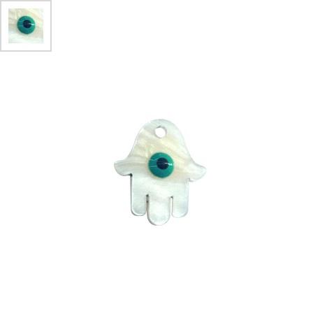 Πλέξι Ακρυλικό Μοτίφ Χέρι Χάμσα Μάτι με Σμάλτο 19x17mm - Άσπρο Περλέ/Βεραμάν/Μαύρο ΚΩΔ:71440016.001-NG