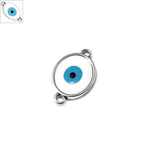 Μεταλλικό Ζάμακ Στοιχείο Οβάλ Μάτι με Σμάλτο Μακραμέ 16x20mm - 999° Επάργυρο Αντικέ/Άσπρο/Γαλάζιο ΚΩΔ:78432030.799-NG