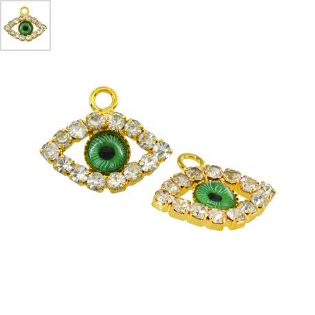 Μεταλλικό Μοτίφ Μάτι με Στρας 13x16mm - Χρυσό/Πράσινο ΚΩΔ:78750056.206-NG