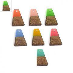 Ξύλο Τριανταφυλλιάς & Ρητίνη Μοτίφ Τραπέζιο 12x18mm - Φυσικό Καφέ/Πράσινο Διαφανές ΚΩΔ:71760005.006-NG