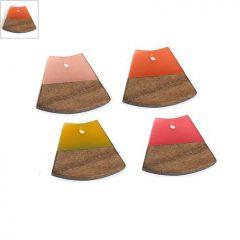 Ξύλο Τριανταφυλλιάς & Ρητίνη Μοτίφ Τραπέζιο 22x18mm - Φυσικό Καφέ/Πορτοκαλί Διαφανές ΚΩΔ:71760007.005-NG
