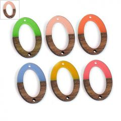 Ξύλο Τριανταφυλλιάς & Ρητίνη Στοιχείο Οβάλ 20x28mm - Φυσικό Καφέ/Σομόν Διαφανές ΚΩΔ:71760010.007-NG
