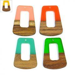 Ξύλο Τριανταφυλλιάς & Ρητίνη Μοτίφ Τραπέζιο 27x37mm - Φυσικό Καφέ/Κίτρινο Διαφανές ΚΩΔ:71760016.004-NG