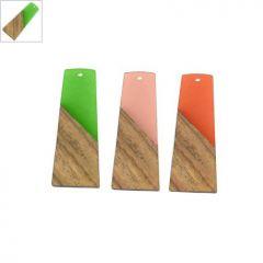 Ξύλο Τριανταφυλλιάς & Ρητίνη Μοτίφ Τραπέζιο 19x49mm - Φυσικό Καφέ/Πράσινο Διαφανές ΚΩΔ:71760017.006-NG