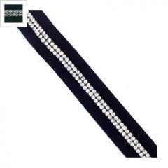 Κορδόνι Σουέτ 15mm & Κρυστάλλινες Πέτρες 2mm (~100cm/πακέτο) - Μαύρο/Ασημί ΚΩΔ:77020301.001-NG