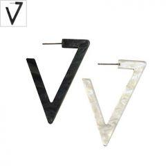 Πλέξι Ακρυλικό Σκουλαρίκι Τρίγωνο με Καρφάκι 35x49mm - Mαύρο Περλέ ΚΩΔ:71481259.126-NG