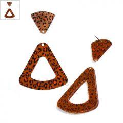Πλέξι Ακρυλικό Σκουλαρίκι Τρίγωνο 49mm & 24mm (2τμχ/ΣΕΤ) - Καφέ Σκούρο Λεοπάρ ΚΩΔ:71481345.291-NG