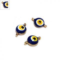 Μεταλλικό Στοιχείο Στρογγυλό Μάτι με Σμάλτο για Μακραμέ 7.5mm - Χρυσό/Μπλε/Άσπρο/Πορτοκαλί/Μαύρο ΚΩΔ:78060438.209-NG