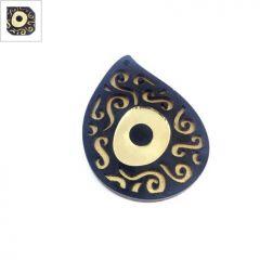 Ξύλινο με Πλέξι Ακρυλικό Μοτίφ Μάτι Σταγόνα 49x37mm - Χρυσό/Μαύρο/Χρυσός Καθρέφτης/Μαύρο ΚΩΔ:76710034.252-NG