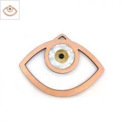 Ξύλινο με Πλέξι Ακρυλικό Μοτίφ Μάτι 79x63mm - Ροζ Χρυσό/Άσπρο Πάγου Περλέ/Χρυσό Περλέ/Μαύρο ΚΩΔ:76710062.001-NG