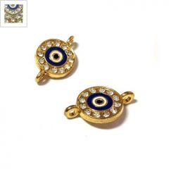 Μεταλλικό Στοιχείο Στρογυλλό Μάτι με Στρας για Μακραμέ 12mm - Χρυσό/Διάφανο ΚΩΔ:78040166.201-NG