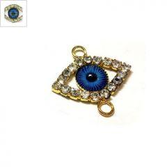 Μεταλλικό Στοιχείο Μάτι με Στρας για Μακραμέ 15x20mm - Gold / Μπλε ΚΩΔ:78750153.201-NG