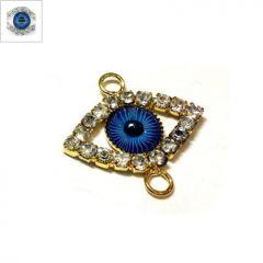 Μεταλλικό Στοιχείο Μάτι με Στρας για Μακραμέ 17.5x23.5mm - Silver Μπλε ΚΩΔ:78750154.401-NG