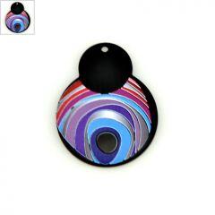 Πλέξι Ακρυλικό Μοτίφ Ακανόνιστο Μάτι 40x51mm - Μαύρο/Multi ΚΩΔ:71460464.019-NG