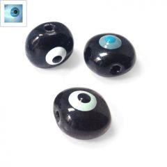 Κεραμική Χάντρα Μάτι Στρογγυλή με Σμάλτο 15mm - Μπλε Ανοιχτό/Γαλάζιο/Μαύρο ΚΩΔ:A1079.000336-NG