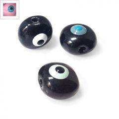 Κεραμική Χάντρα Μάτι Στρογγυλή με Σμάλτο 15mm - Ροζ Απαλό/Γαλάζιο/Μαύρο ΚΩΔ:A1079.000446-NG