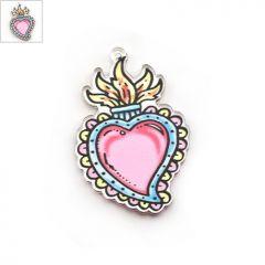 Πλέξι Ακρυλικό Μοτίφ Καρδιά Φωτιά 36x54mm - Διαφανές/Multi ΚΩΔ:71460533.001-NG