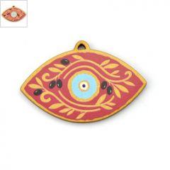Ξύλινο Μοτίφ Μάτι Ελιές 60x35mm - Χρυσό/Κόκκινο/Γαλάζιο/Άσπρο/Μαύρο ΚΩΔ:76660035.052-NG