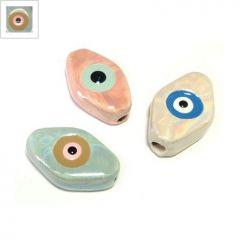 Κεραμική Χάντρα Μάτι με Σμάλτο 15x24mm (Ø2.8mm) - Baby Μπλε/Ανοιχτό Coffee/Salmon/Μαύρο ΚΩΔ:A1351.203847-NG