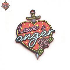 """Πλέξι Ακρυλικό Μοτίφ Καρδιά Σπαθί """"Love & Anger"""" 39x50mm - Κόκκινο/Multi ΚΩΔ:71460521.001-NG"""