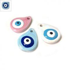 Κεραμικό Μοτίφ Σταγόνα Μάτι με Σμάλτο 32x24mm (Ø3.5mm) - Μπλε Ανοιχτό/Signal Μπλε/Άσπρο/Μαύρο ΚΩΔ:A1323.000336-NG