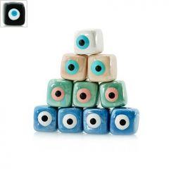 Κεραμική Χάντρα Κύβος Μάτι με Σμάλτο 10mm (Ø2.7mm) - Μαύρο/Άσπρο/Γαλάζιο ΚΩΔ:A1426.400101-NG